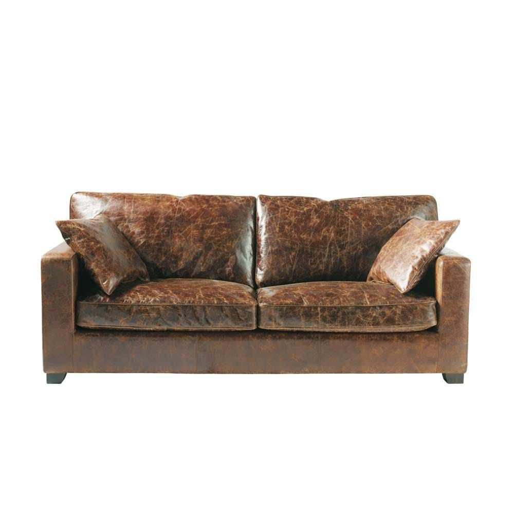 3 seater leather sofa in brown stanford maisons du monde. Black Bedroom Furniture Sets. Home Design Ideas