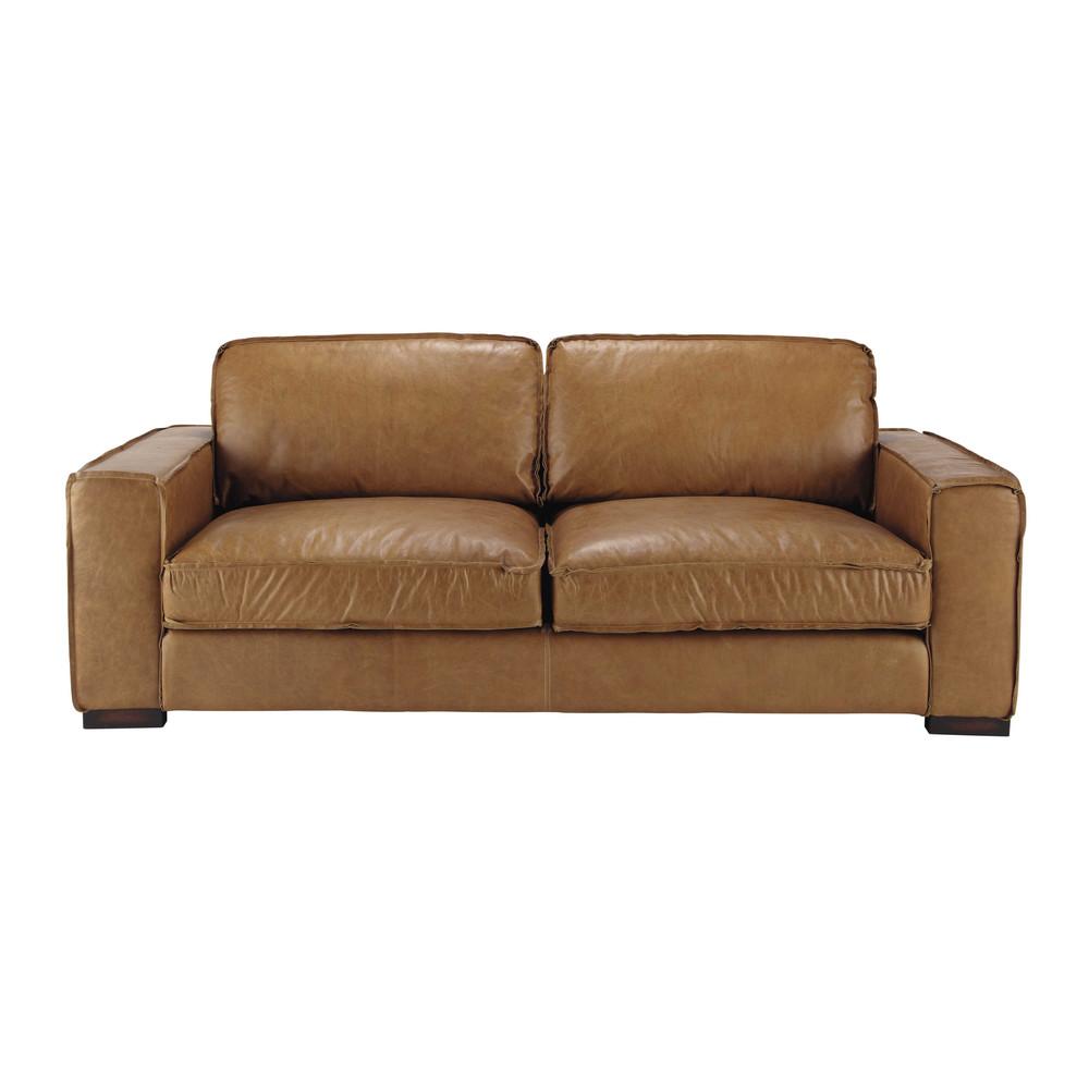 3 seater leather vintage sofa in camel colonel maisons du monde. Black Bedroom Furniture Sets. Home Design Ideas