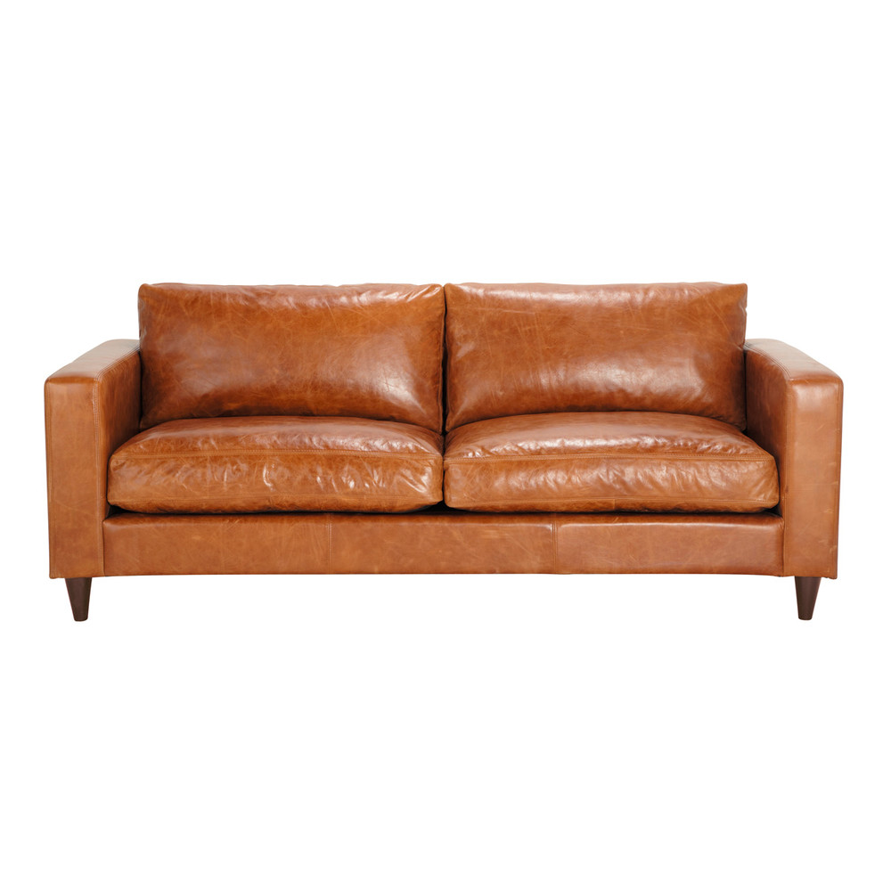 3 seater leather vintage sofa in camel henry maisons du monde. Black Bedroom Furniture Sets. Home Design Ideas