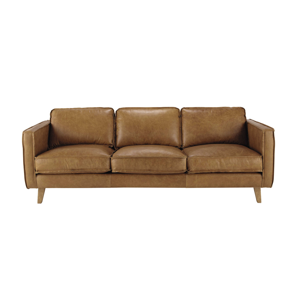 3 seater leather vintage sofa in camel Hipster