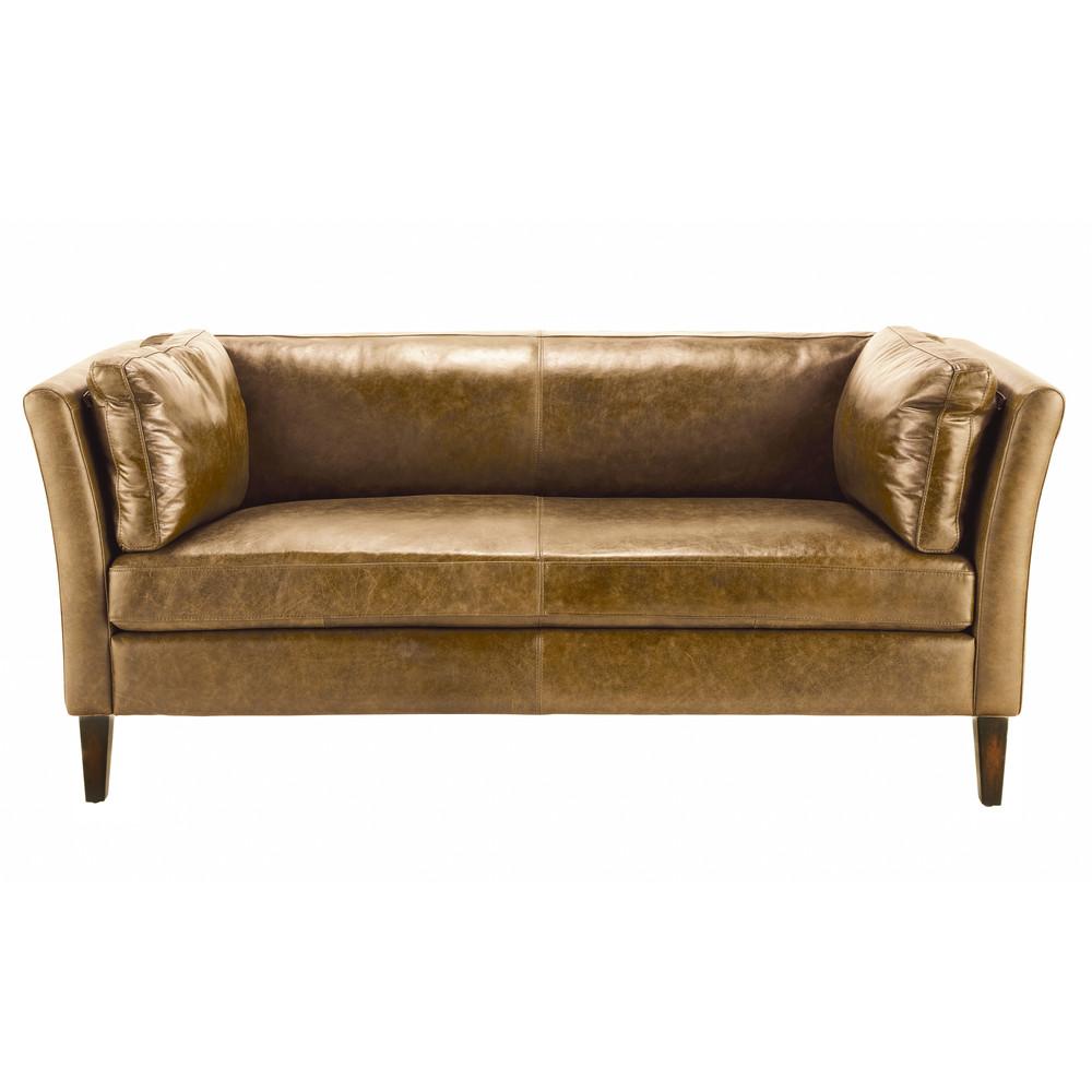 3 seater leather vintage sofa in camel prescott maisons du monde Sofa 160 cm lang