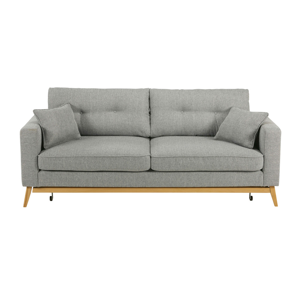 3 seater light grey fabric sofa bed brooke maisons du monde. Black Bedroom Furniture Sets. Home Design Ideas