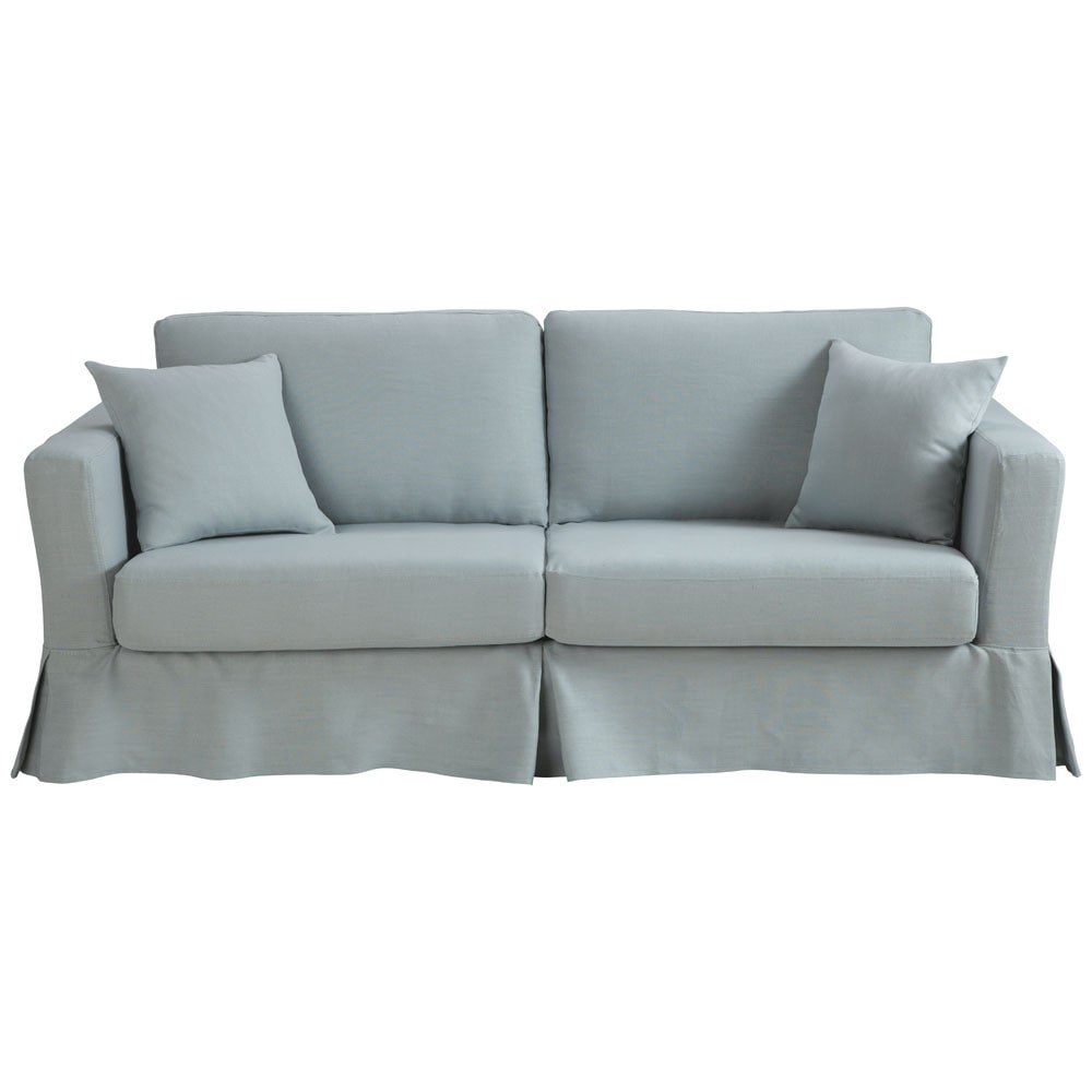 3 seater linen corner sofa bed in grey blue royan for Blue grey sofa