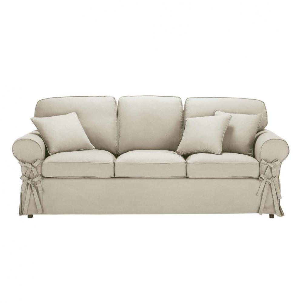 3 Seater Linen Sofa Bed Butterfly Maisons Du Monde