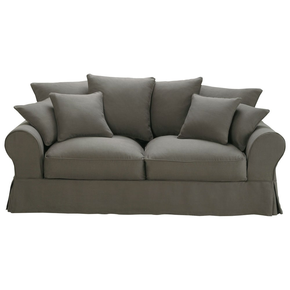 3 Seater Linen Sofa Bed In Grey Taupe Bastide Maisons Du