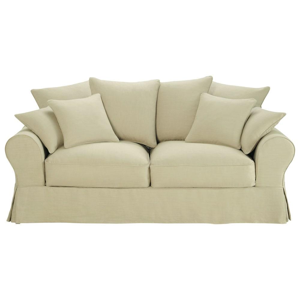 3 Seater Linen Sofa Bed In Natural Bastide Maisons Du Monde