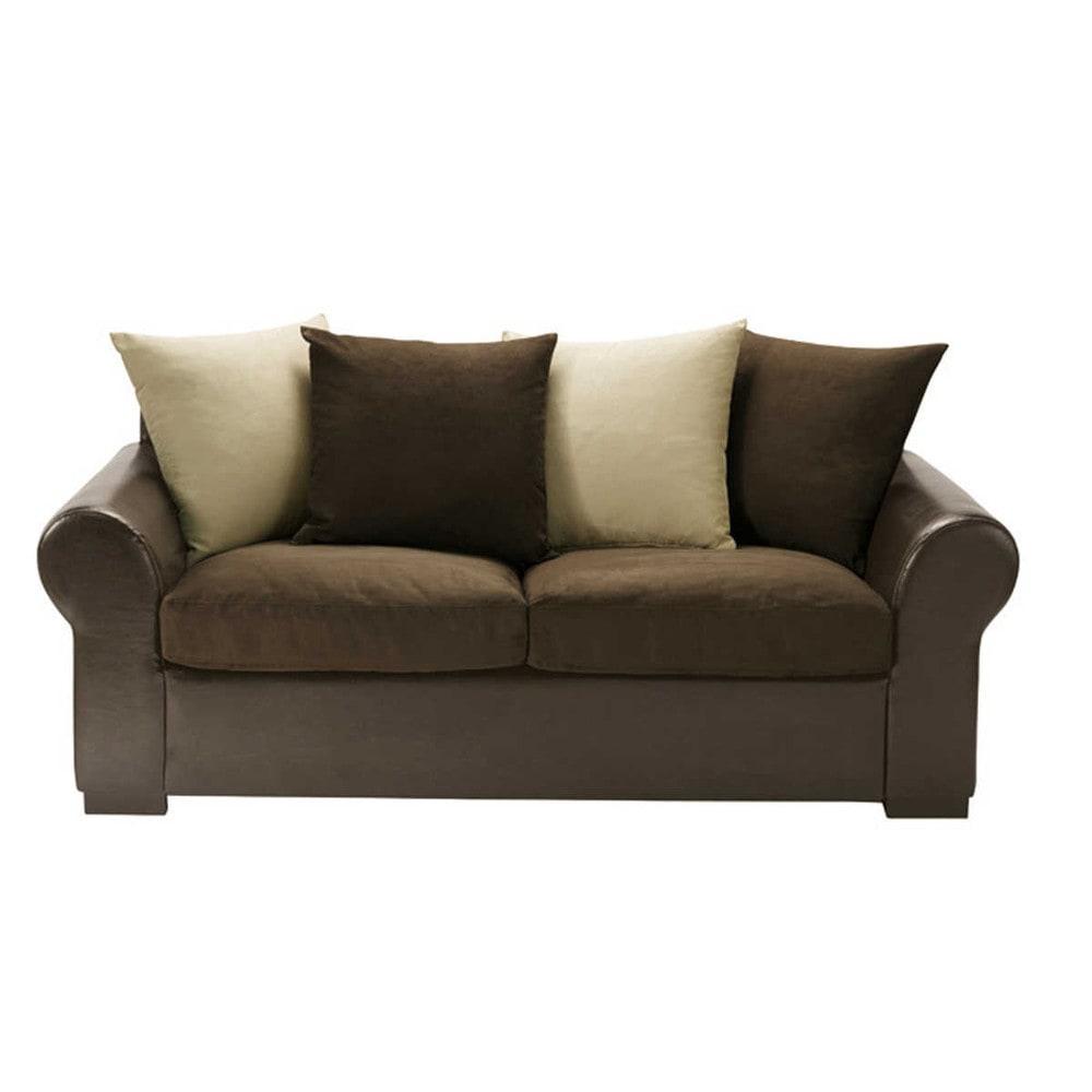 3 seater sofa in brown beige antigua maisons du monde for Maison du monde sofas