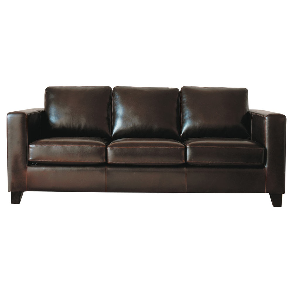 3 seater split leather sofa bed in chocolate kennedy maisons du monde. Black Bedroom Furniture Sets. Home Design Ideas