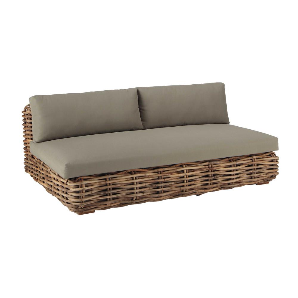 3 sitzer gartensofa aus rattan st tropez maisons du monde for Coussin sofa exterieur