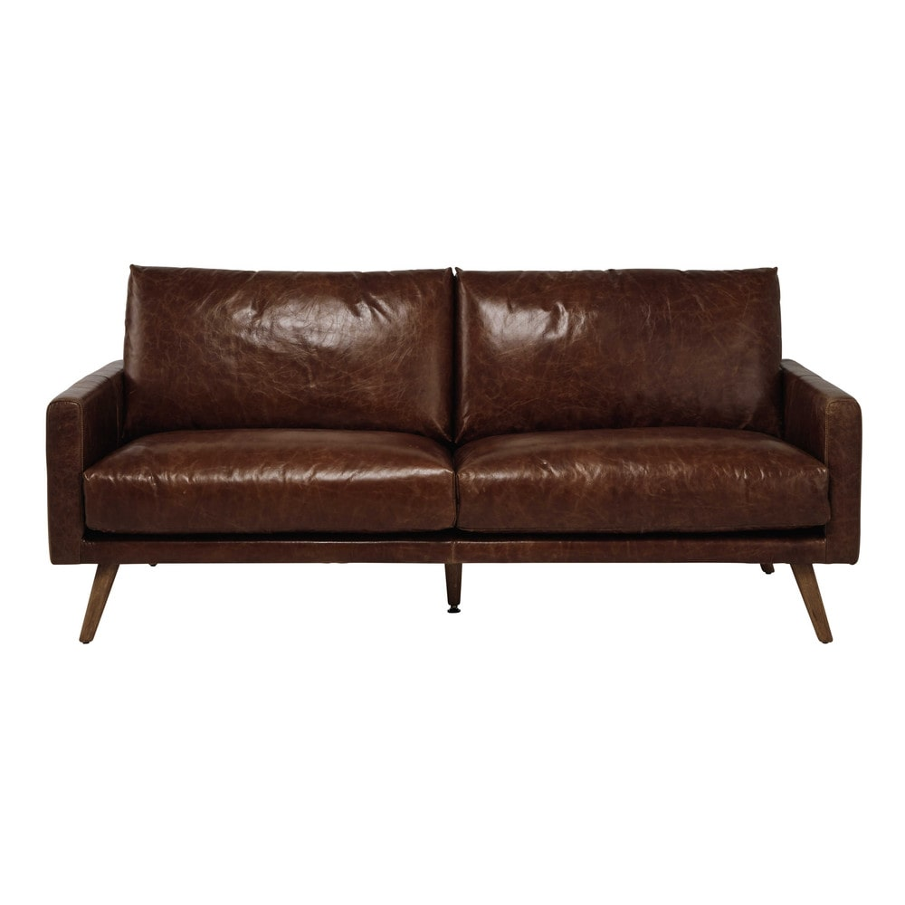 3 sitzer ledersofa cognacbraun hooper maisons du monde. Black Bedroom Furniture Sets. Home Design Ideas