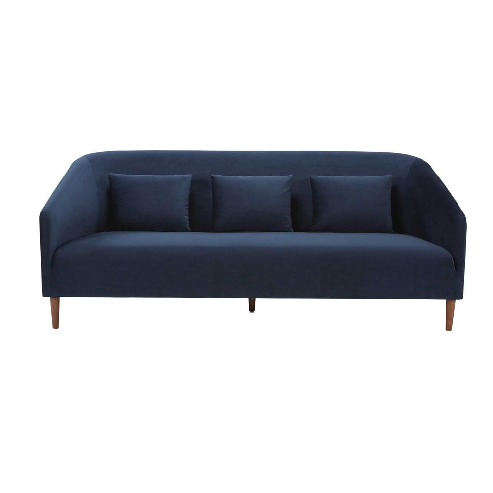 3 sitzer sofa mit nachtblauem samtbezug nottingham maisons du monde. Black Bedroom Furniture Sets. Home Design Ideas