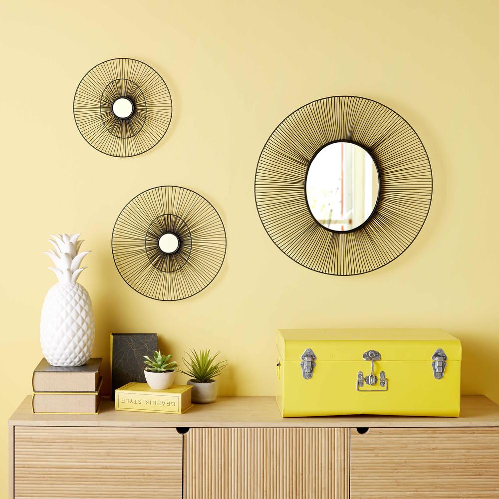 3 specchi rotondi neri in fili di metallo elewa maisons for Casa miroir rond