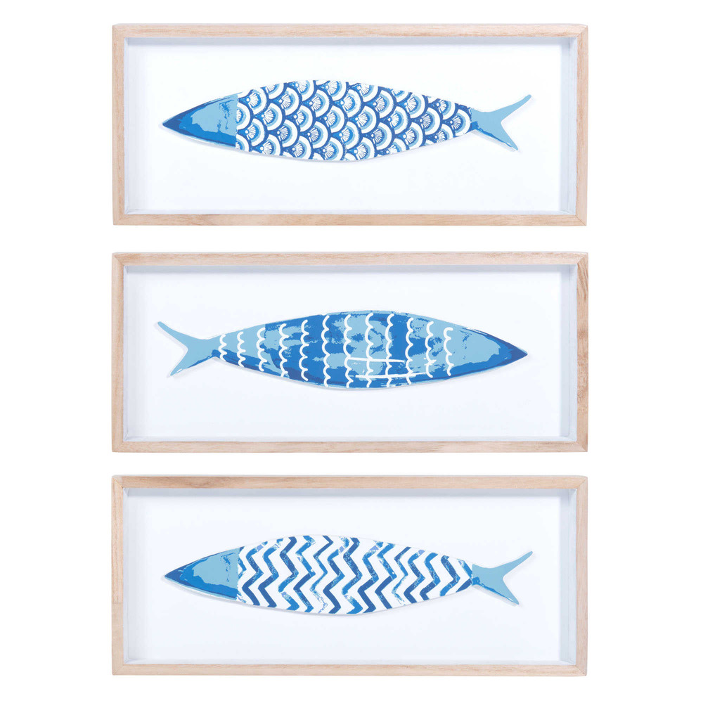 3 tableaux poissons en bois bleu 14 x 33 cm azzura. Black Bedroom Furniture Sets. Home Design Ideas