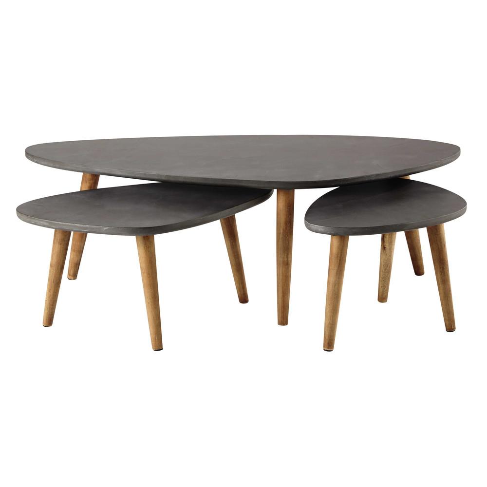 3 tables basses gigognes en bois grise l 50 l 120 cm - Table salon grise ...