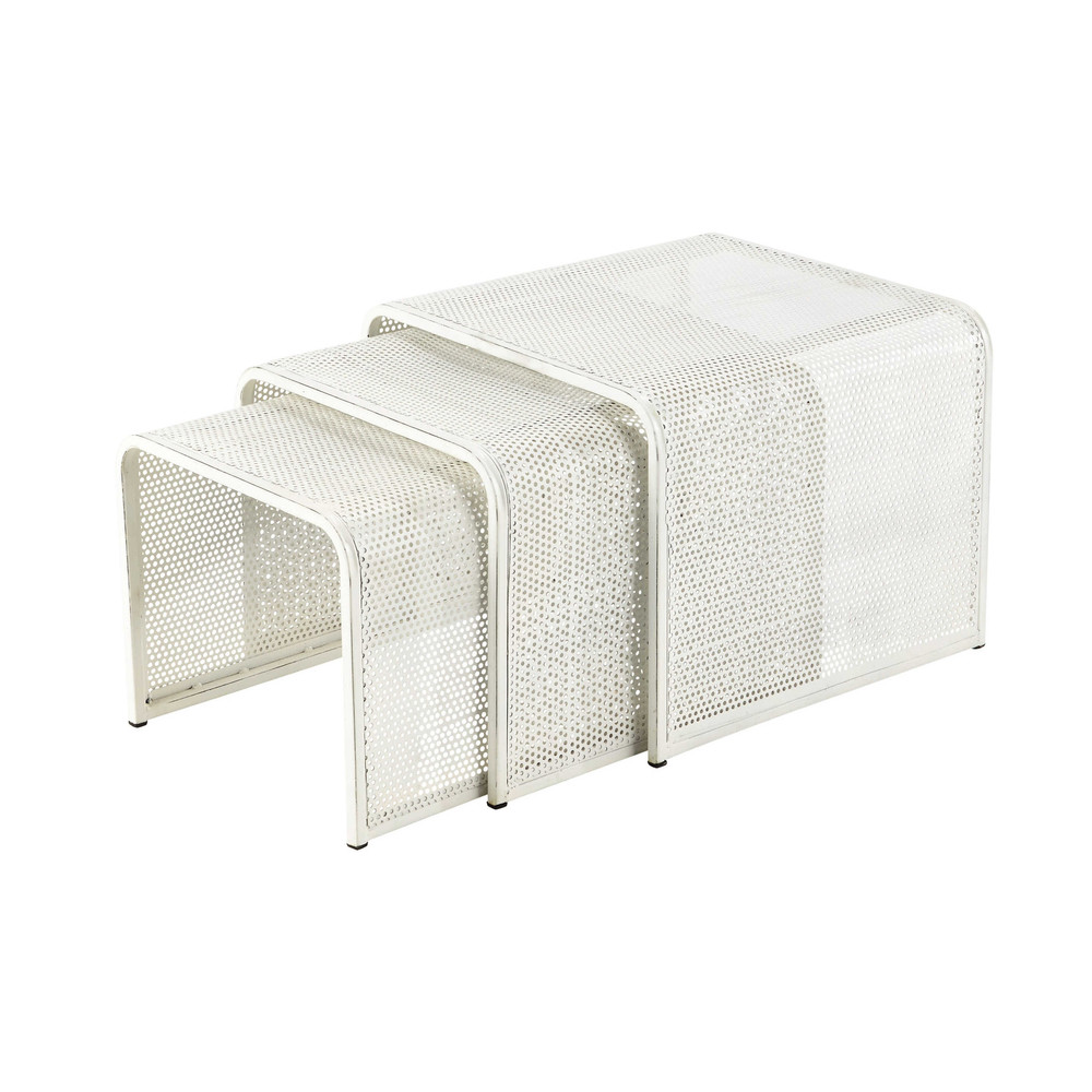 3 tables basses gigognes en m tal blanches l 40 cm l 50 - Tables basses carrees ...