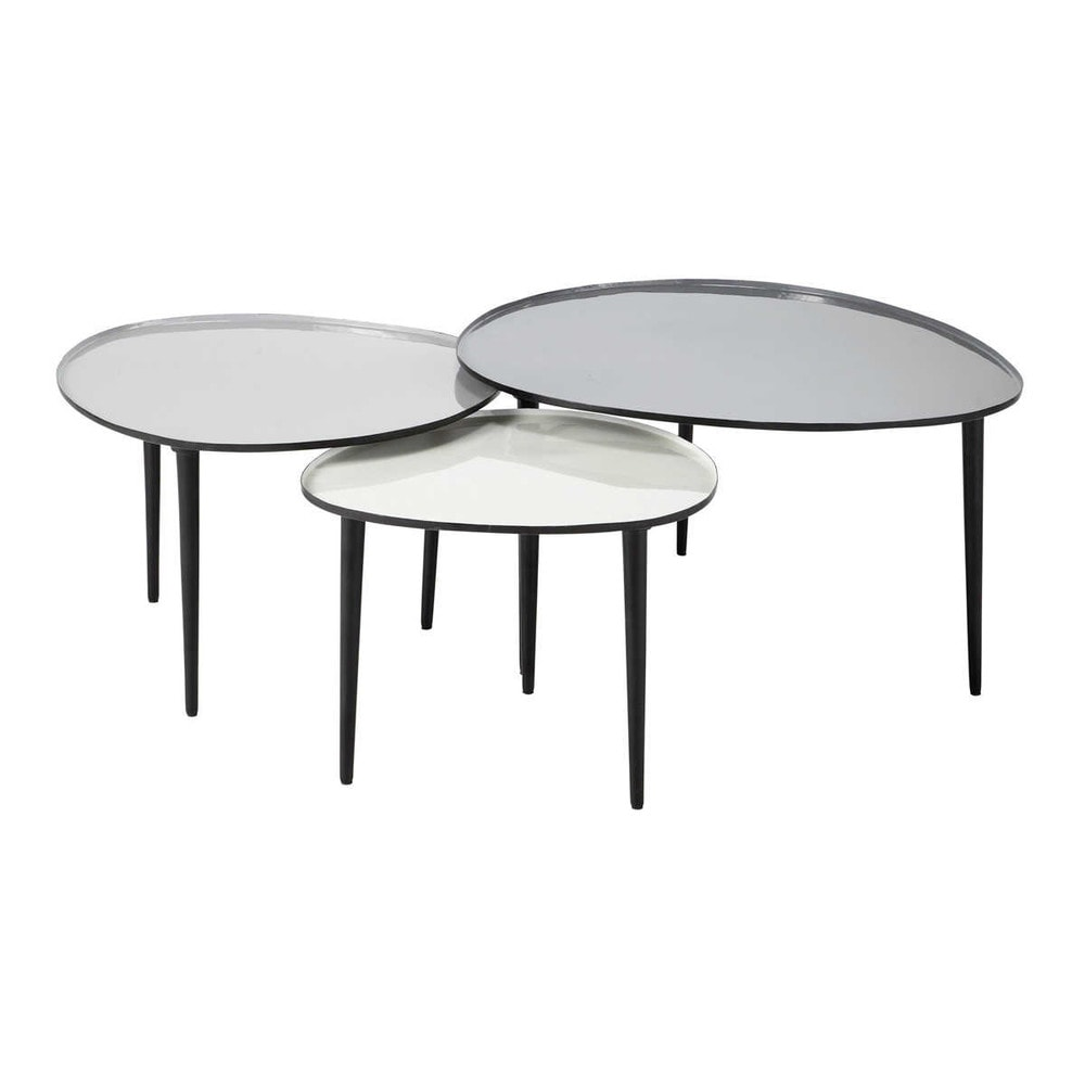 3 tables basses gigognes en m tal l 59 cm l 75 cm galet. Black Bedroom Furniture Sets. Home Design Ideas