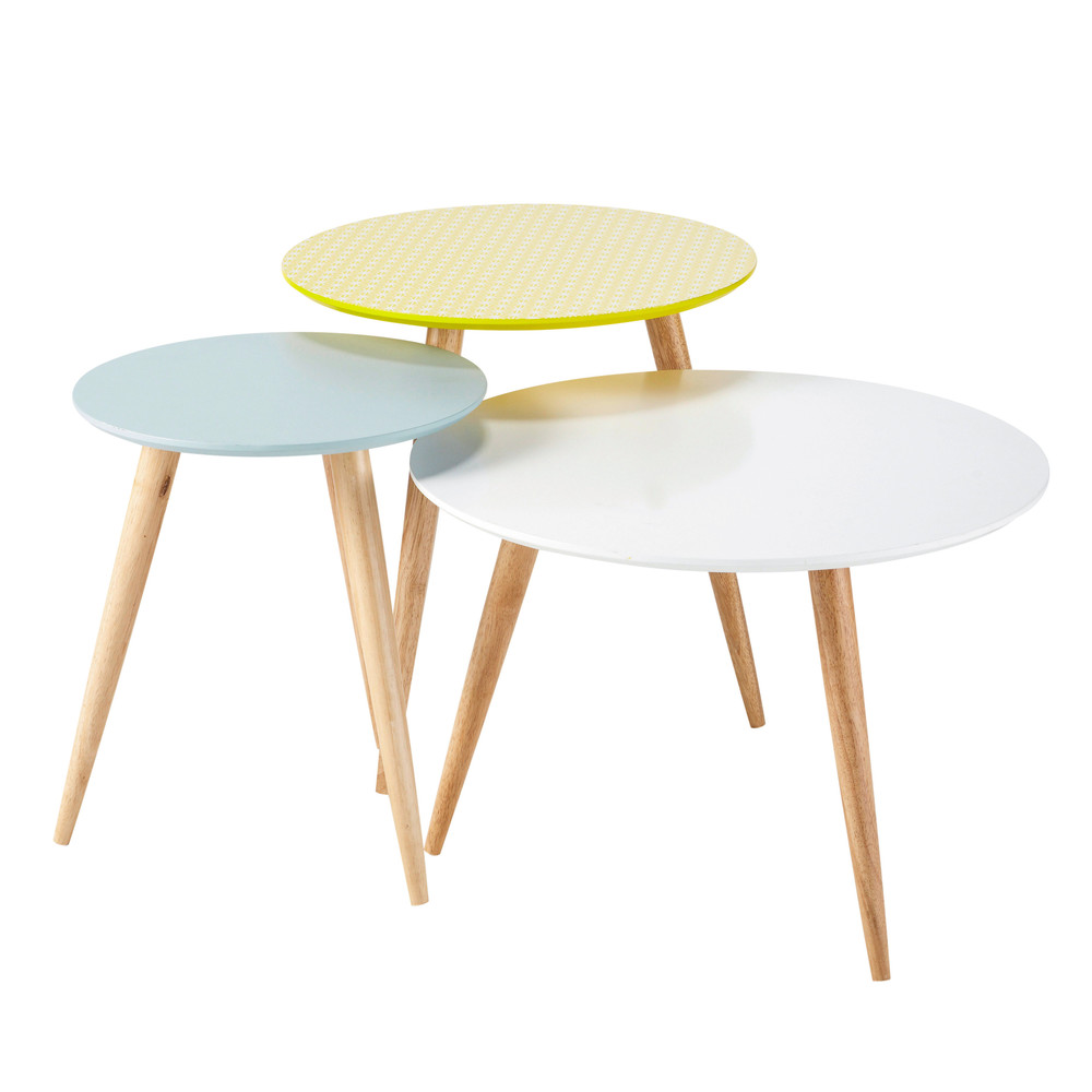 3 tables basses gigognes vintage multicolores l 40 cm l for Table de salon ikea pas cher