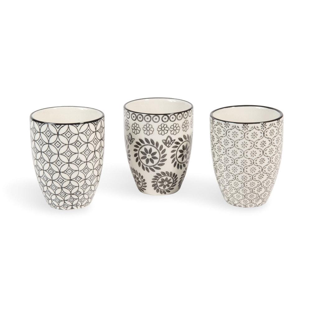 3 tassen chiang mai aus keramik schwarz wei maisons du monde. Black Bedroom Furniture Sets. Home Design Ideas