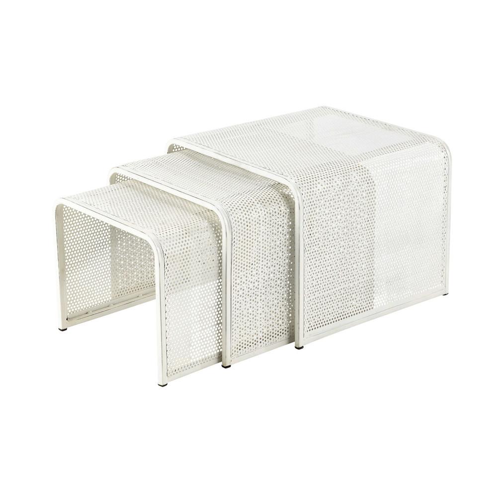3 tavoli bassi estraibili bianchi in metallo l da 40 a 50 for Tavoli bianchi