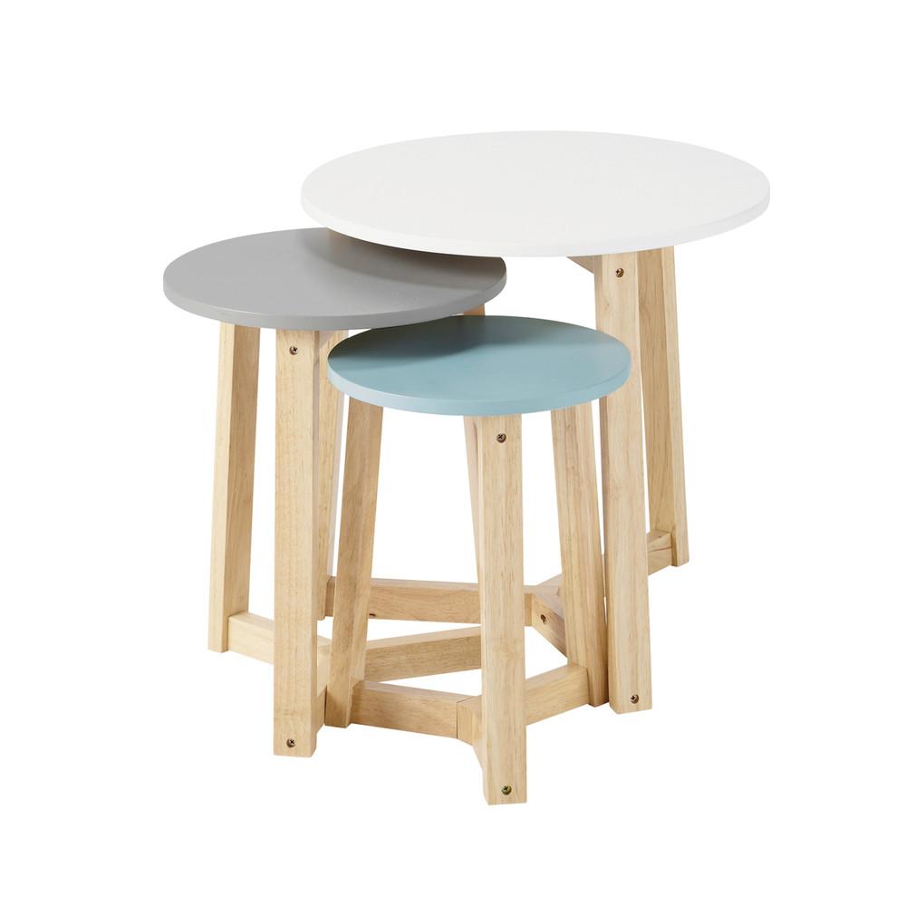 3 tavoli bassi tricolori estraibili vintage l da 30 cm a 50 cm ...