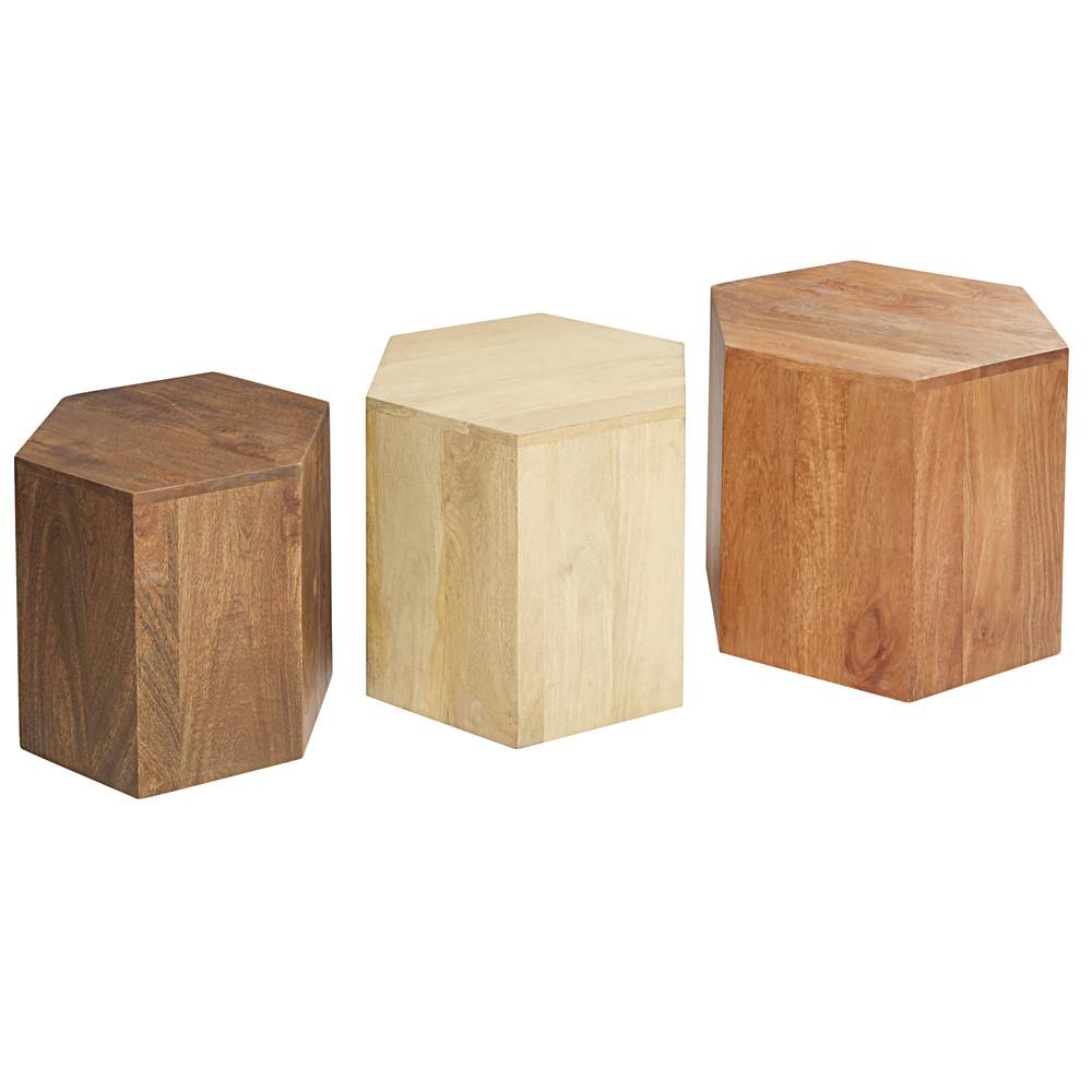 3 tavolini da salotto in legno massello di mango spot for Maison du monde tavolini da salotto