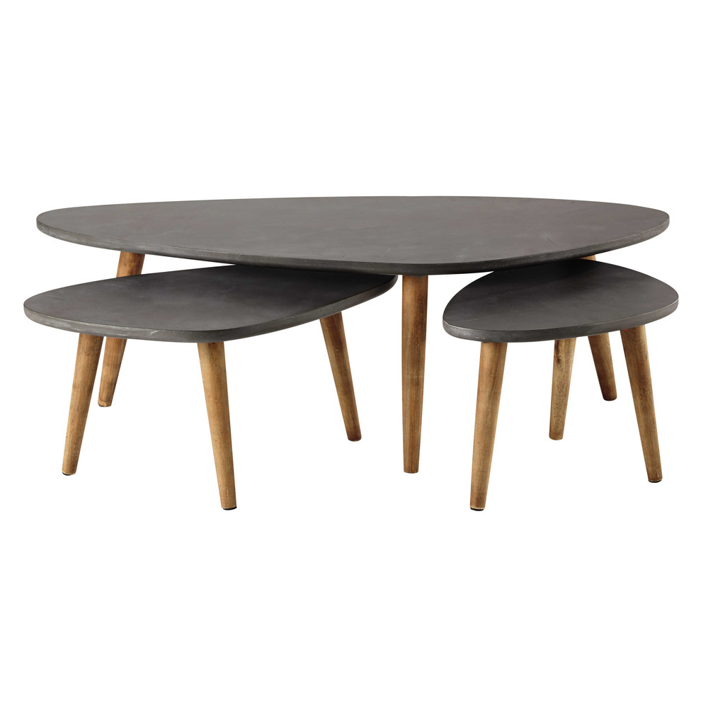 3 Wooden Coffee Tables In Grey W 50cm 120cm Cleveland Maisons Du Monde