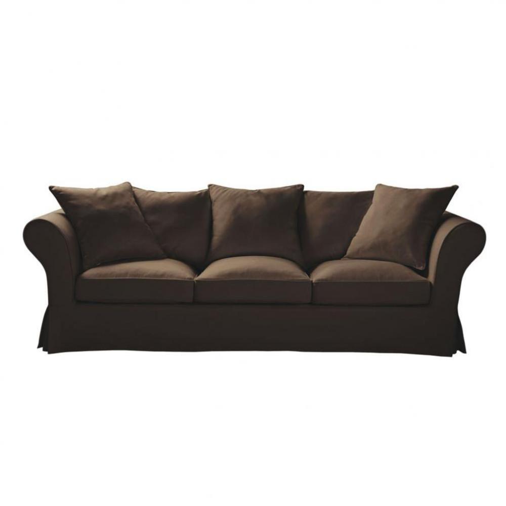 4 5 seat sofa in chocolate roma roma maisons du monde - Sofa roma ...