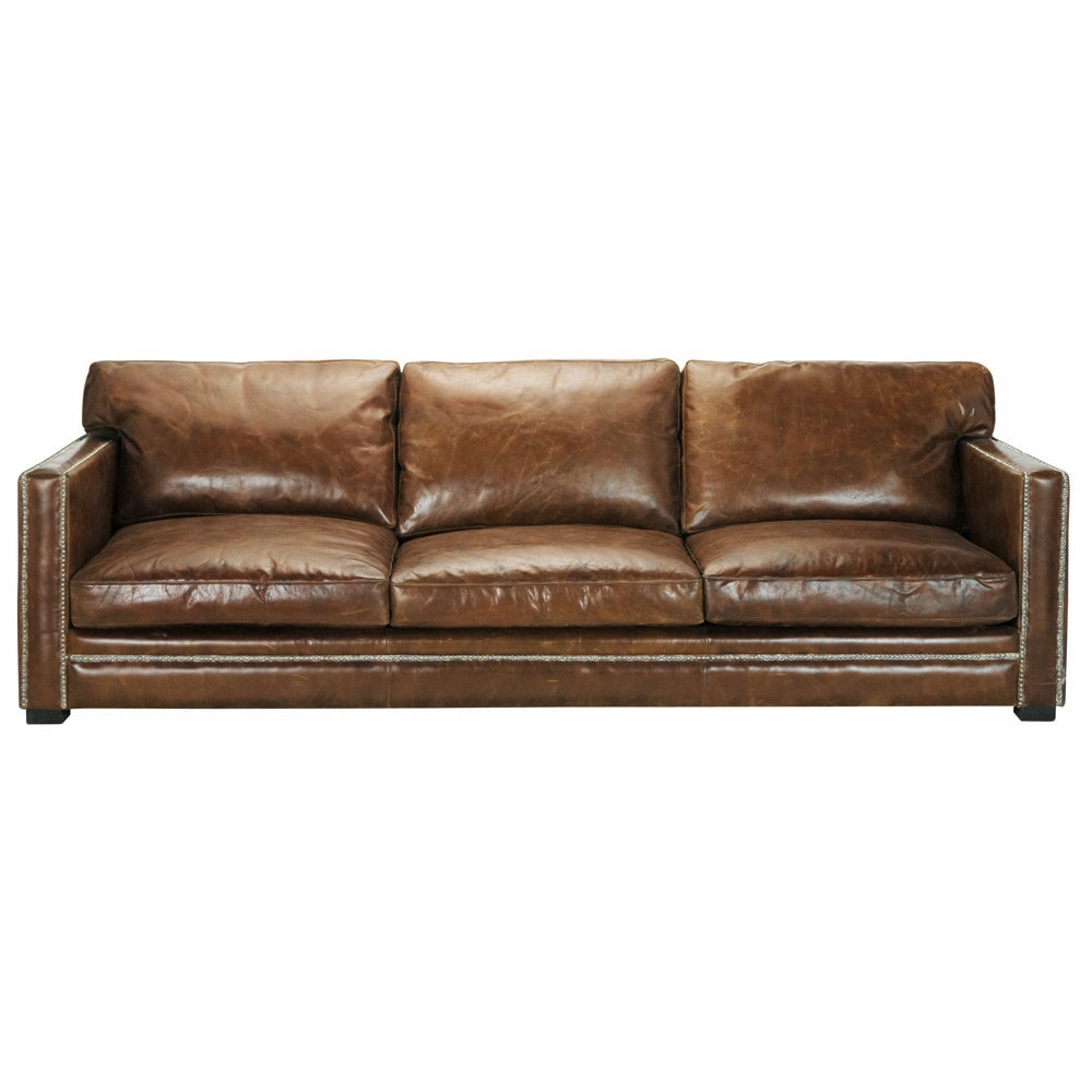 4 5 seater leather sofa in brown dandy maisons du monde for Maison du convertible