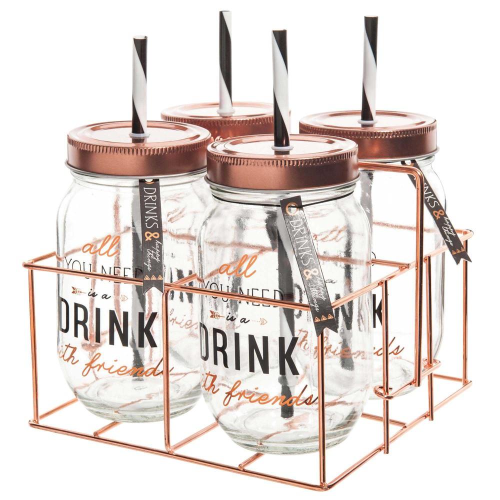 4 bocaux avec paille support m tal drink maisons du monde. Black Bedroom Furniture Sets. Home Design Ideas