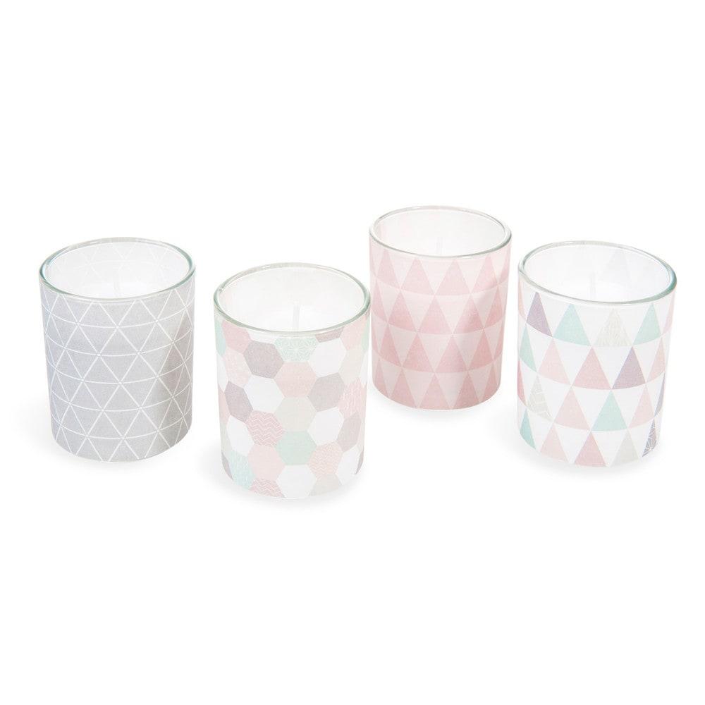 4 bougies en verre pastel graphique maisons du monde. Black Bedroom Furniture Sets. Home Design Ideas