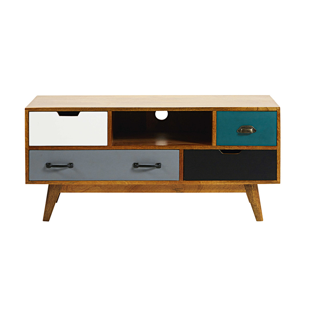4 drawer solid mango wood tv unit picadilly maisons du monde for Maison du meuble