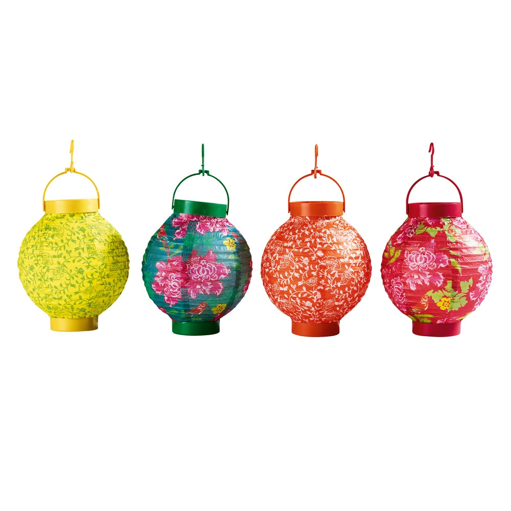 4 lampions lumineux en papier multicolores h 15 cm folk - Maison du monde guirlande lumineuse ...