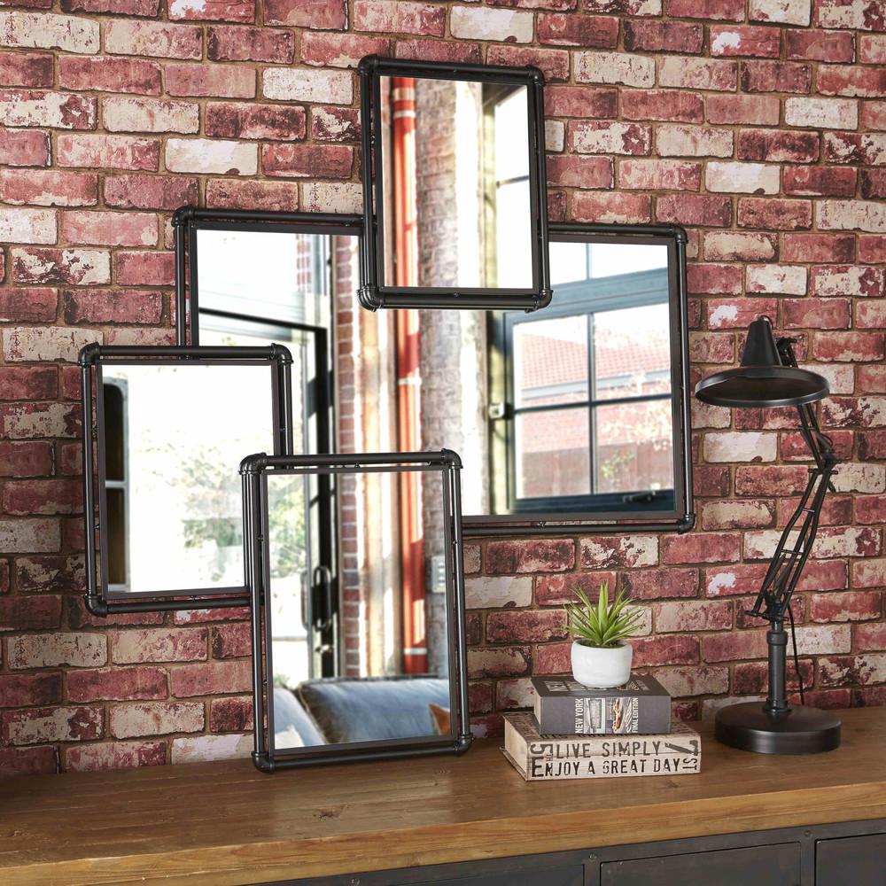 4 miroirs en m tal noir hudson maisons du monde for Miroir en metal noir