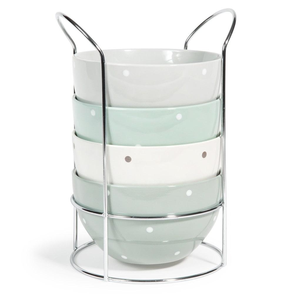 4 nordique earthenware bowls stand in green and white polka dot maisons du monde. Black Bedroom Furniture Sets. Home Design Ideas