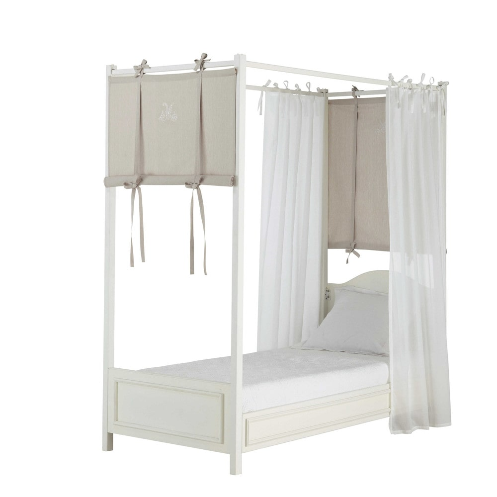 4 rideaux de lit en coton blanc taupe h 150 cm manosque. Black Bedroom Furniture Sets. Home Design Ideas