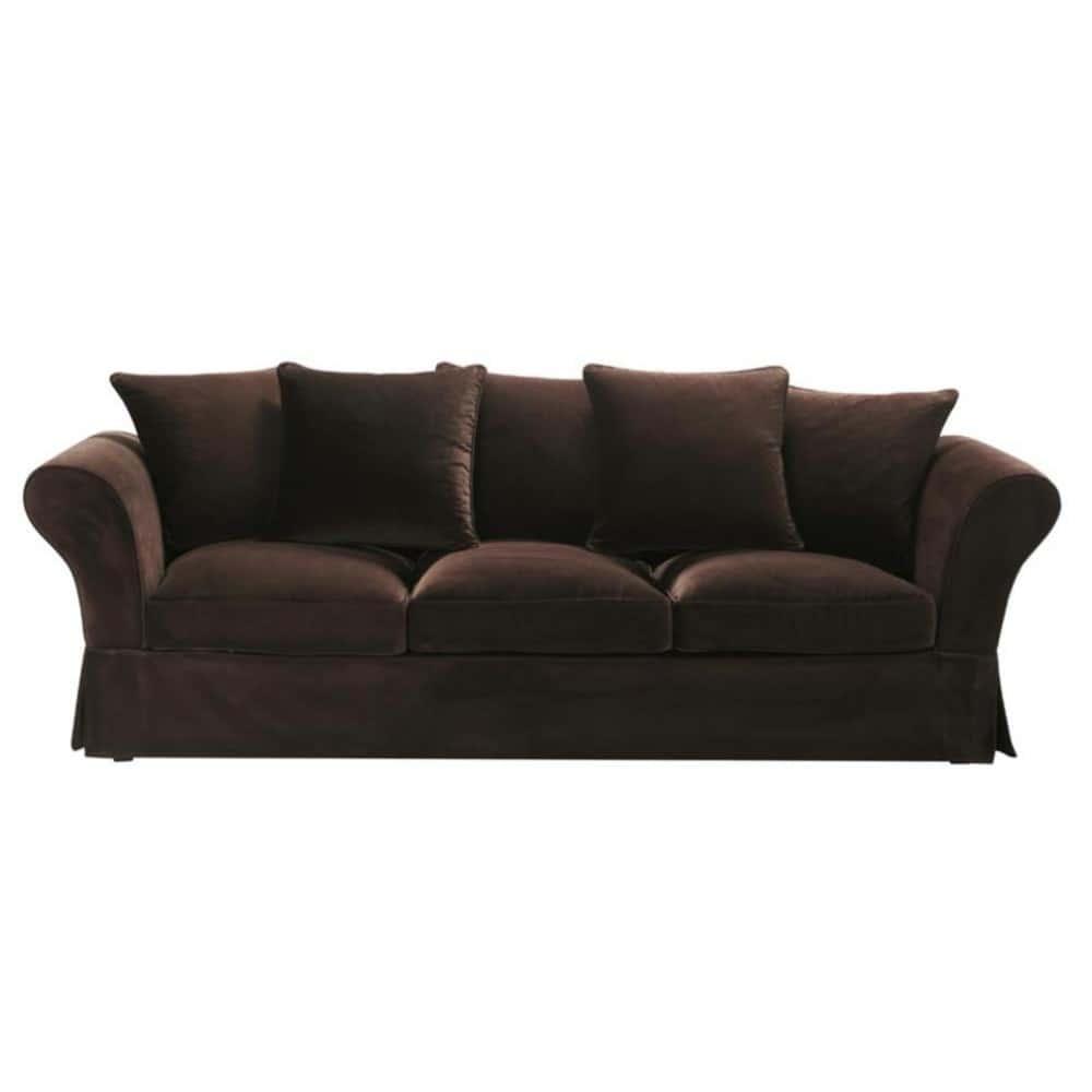 4 seat chocolate velvet sofa roma roma maisons du monde - Sofa roma ...