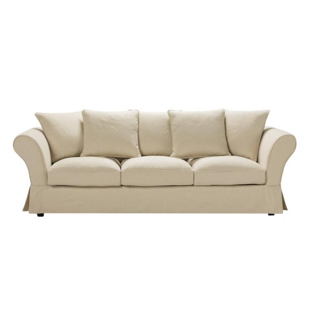 4 seat sofa in beige roma roma maisons du monde - Sofa roma ...