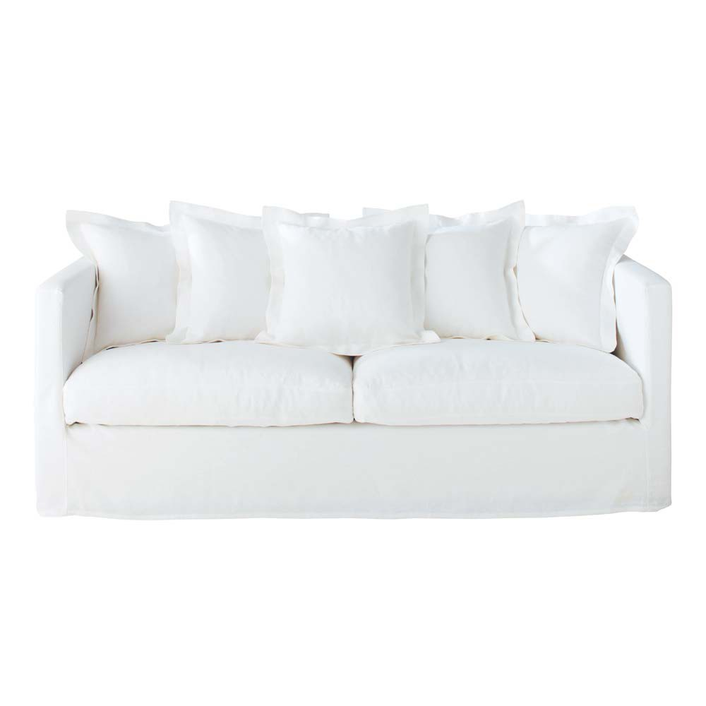 4 seat sofa in white linen trocadero trocadero maisons du monde. Black Bedroom Furniture Sets. Home Design Ideas