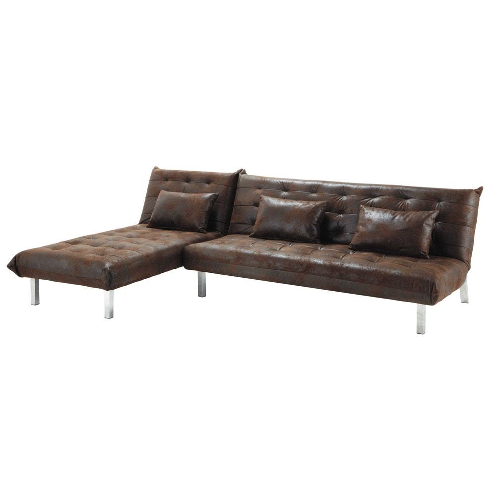 4 Seater Corner Sofa Bed In Brown Max Maisons Du Monde