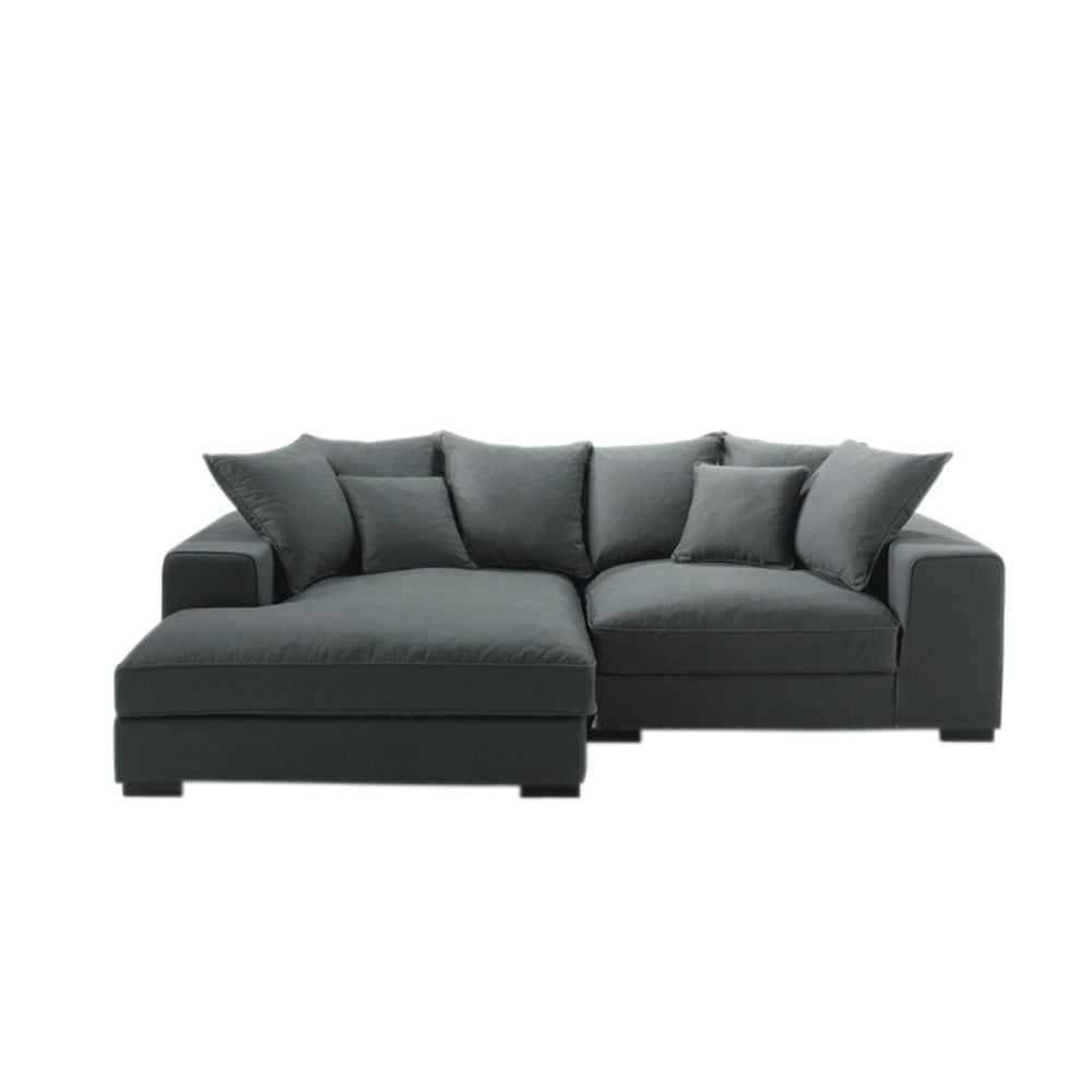 4 seater cotton corner sofa in grey bruges maisons du monde for Canape 3 place avec meridienne