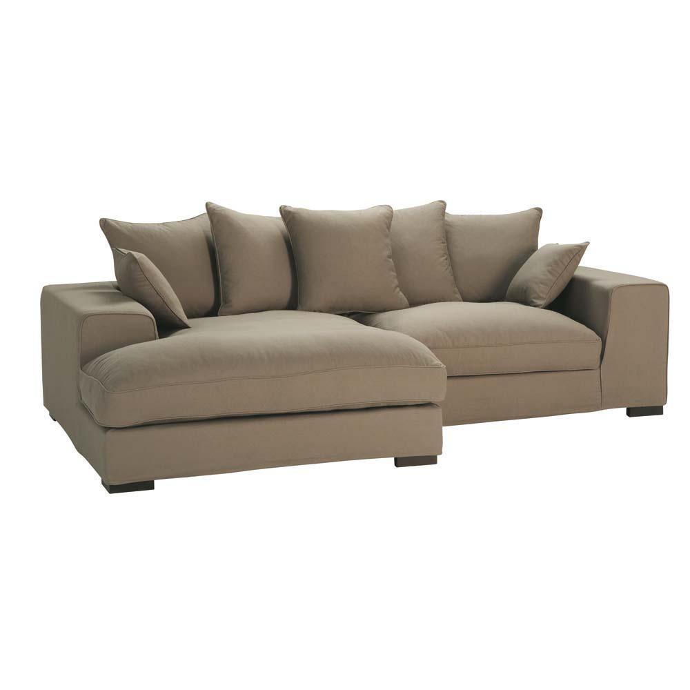 4 Seater Cotton Corner Sofa In Taupe Bruges Maisons Du Monde
