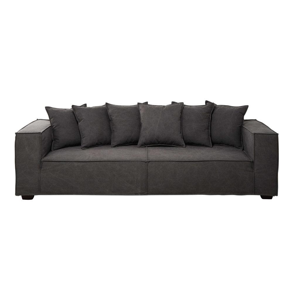 4 seater cotton sofa in grey portman maisons du monde. Black Bedroom Furniture Sets. Home Design Ideas