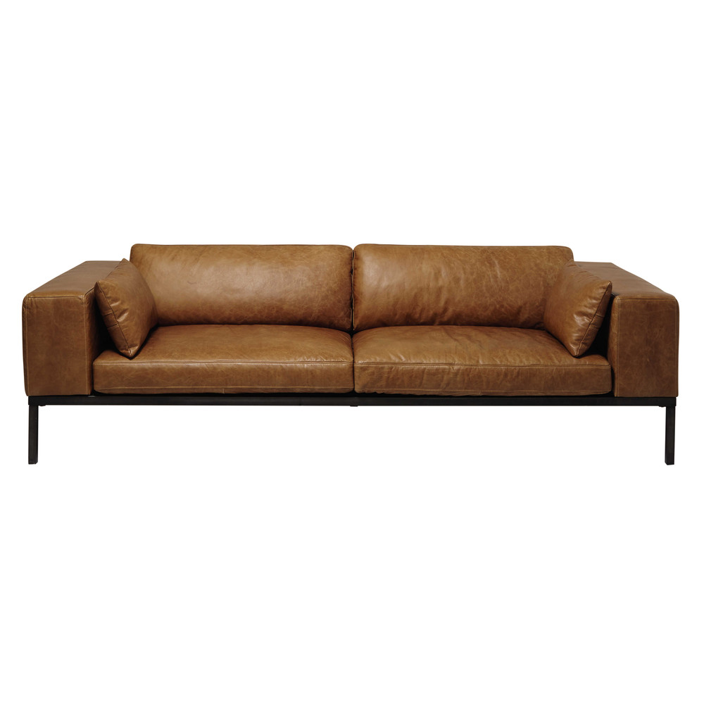 4 seater leather sofa in camel wellington maisons du monde. Black Bedroom Furniture Sets. Home Design Ideas