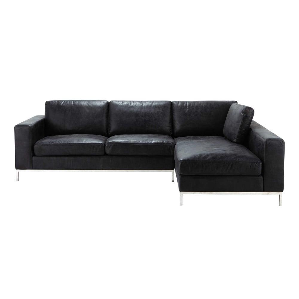 4 Seater Leather Vintage Corner Sofa In Black Jack