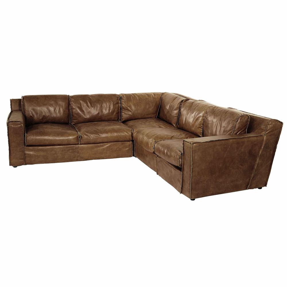 4 seater leather vintage corner sofa in brandy colour morrison maisons du monde. Black Bedroom Furniture Sets. Home Design Ideas