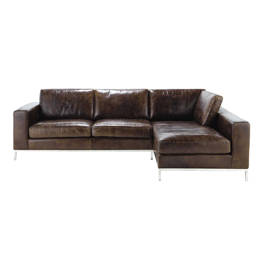 4 Seater Leather Vintage Corner Sofa In Brown Jack