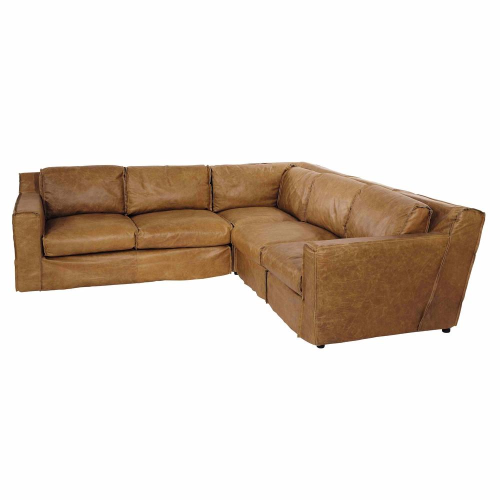 4 Seater Leather Vintage Corner Sofa In Camel Morrison