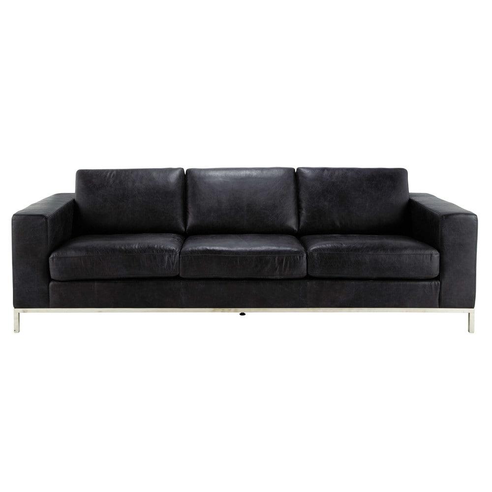 4 seater leather vintage sofa in black jack maisons du monde - Sofas italianos de piel ...