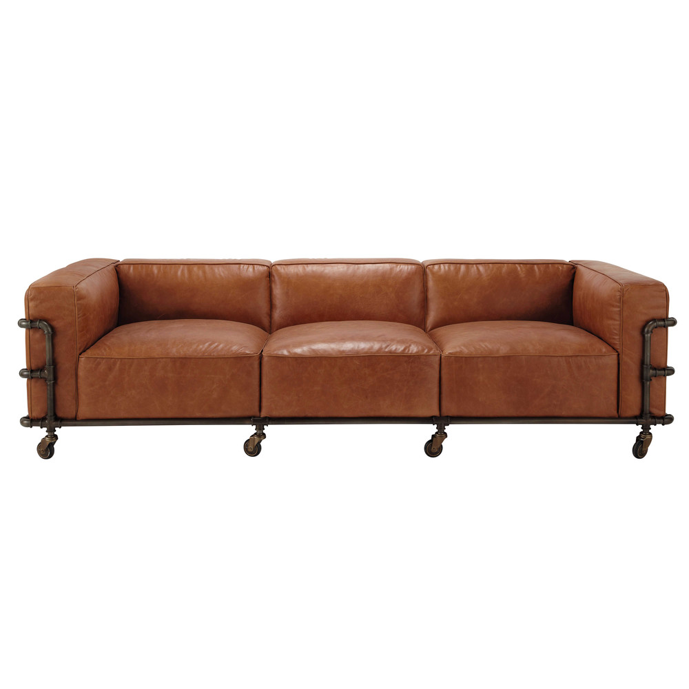4 seater leather vintage sofa in havana brown fabric. Black Bedroom Furniture Sets. Home Design Ideas
