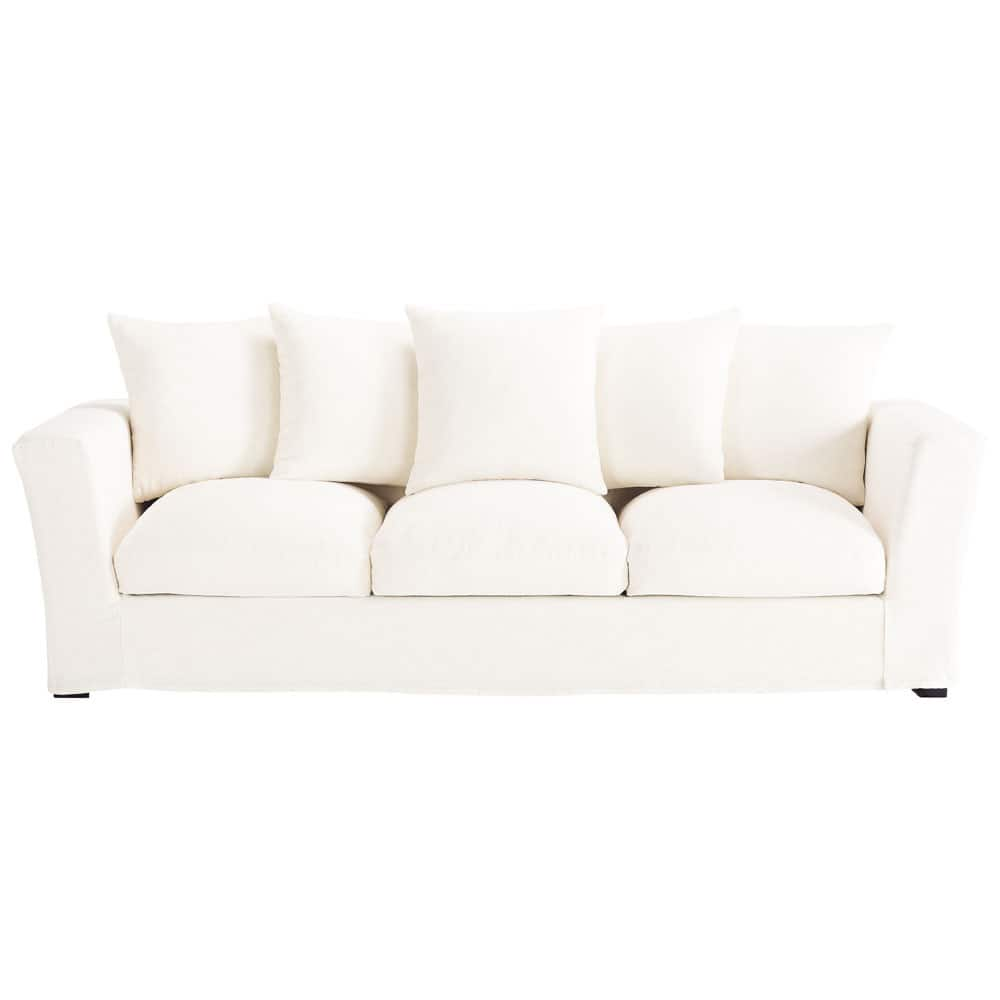 White table linens mainstays sofa classical white linen for White divan chair